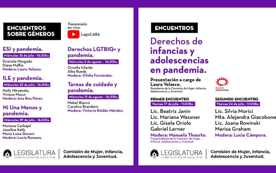 """Ciclo virtual de charlas: """"Géneros y Pandemia"""" y """"Problemáticas y necesidades de las Infancias y Adolescencias en la pandemia"""""""