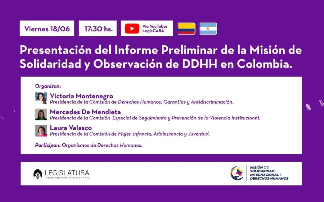 Presentan en la Legislatura porteña un informe sobre violaciones a los Derechos Humanos en Colombia
